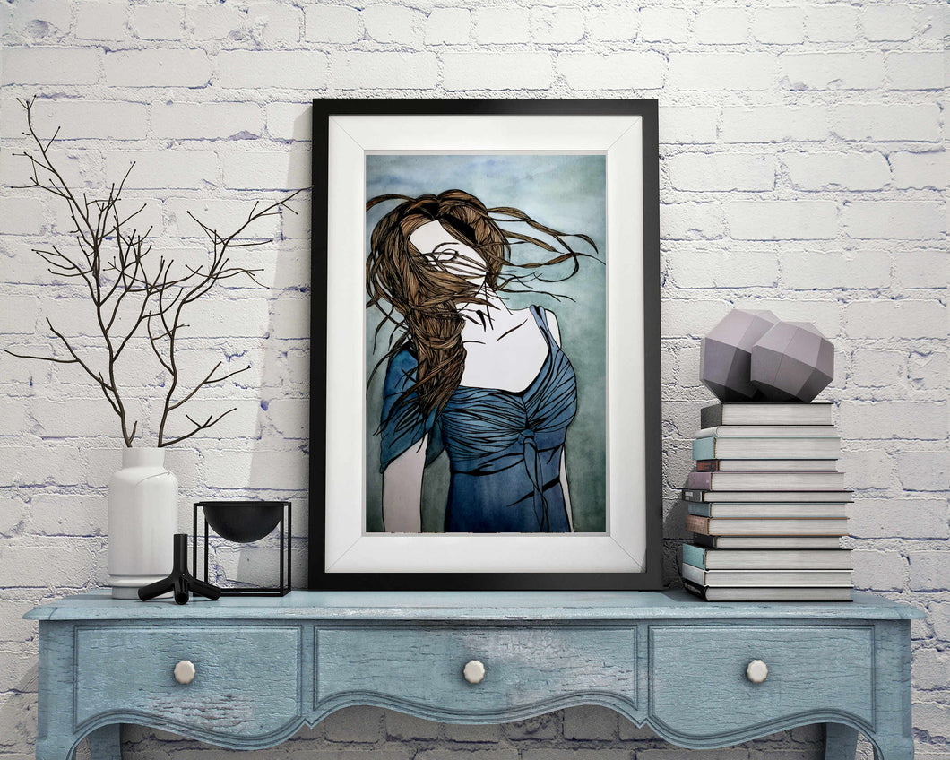 Twirl - Freedom Inspired Portrait Watercolor Painting - 11