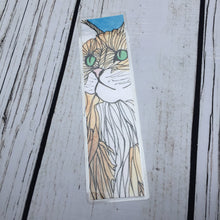Load image into Gallery viewer, Green Eyed Cat, 2-Sided Bookmark - Mischief Inspired  Watercolor Painting Art Print