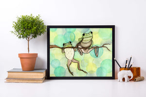 Hanging Out (Frogs) - Friendship Inspired Watercolor Painting - Art Print