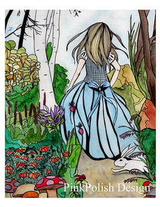 "Alice - Lewis Carroll's Wonderland Inspired Watercolor Painting - 11""x17""Art Print"