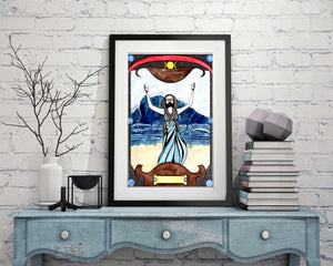 "Calling the Waves - Magic Inspired Watercolor Painting - 11""x17""Art Print"