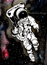 Load image into Gallery viewer, Q in Space - Astronaut Inspired Watercolor Painting - Art Print