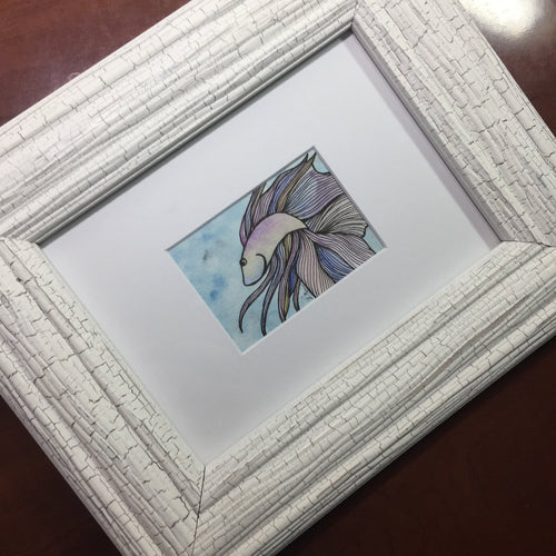 Betta Fish Mini - Framed Original Watercolor & Ink Illustration, 2.5