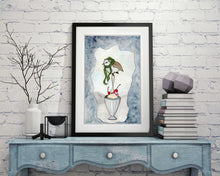 "Load image into Gallery viewer, Chilly Bird - Storybook Inspired Watercolor Painting - 11""x17""Art Print"