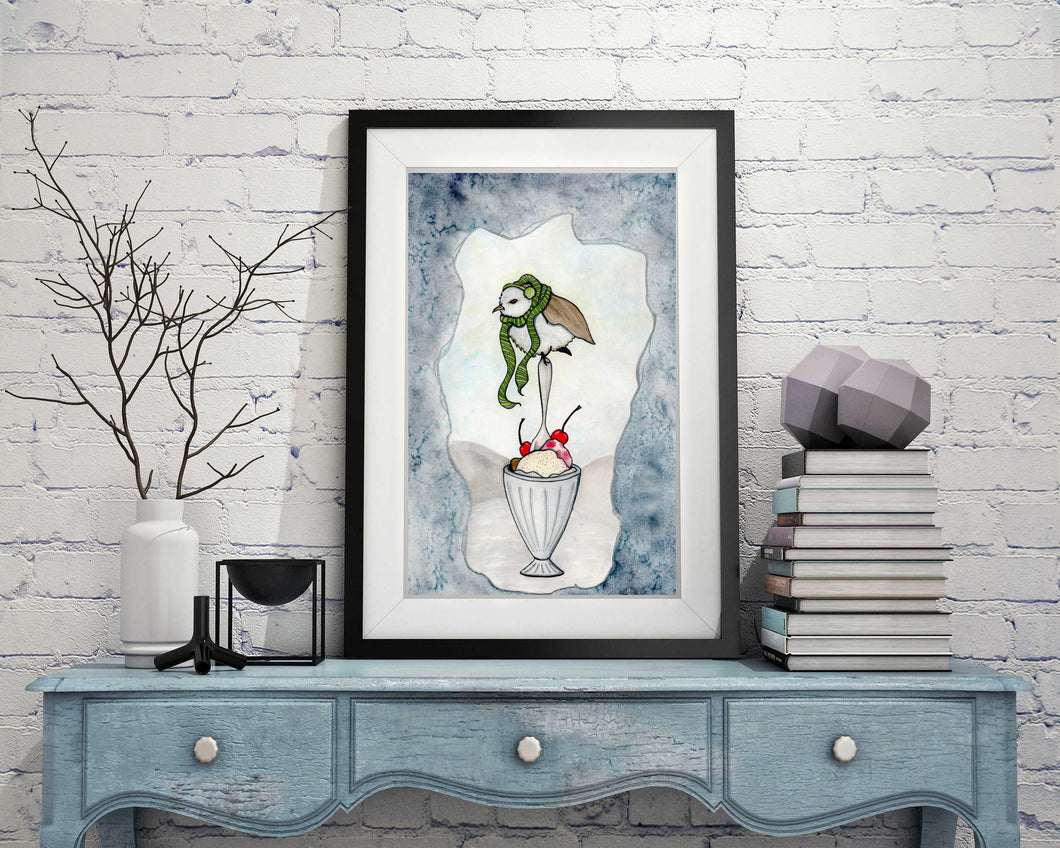 Chilly Bird - Storybook Inspired Watercolor Painting - 11