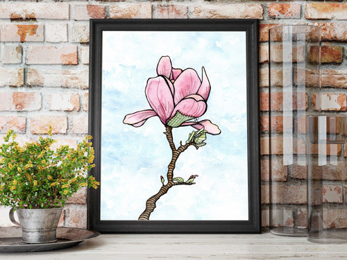 Patched Magnolia - Beautiful Broken Things Inspired Watercolor Painting - Art Print