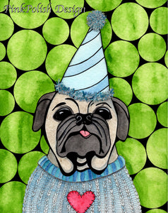 Party Animal - Puppy Dog Inspired Watercolor Painting - Art Print