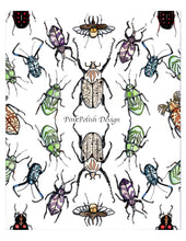 Load image into Gallery viewer, Beetle Repetition - Insect Inspired Watercolor Painting - Art Print
