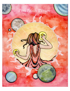 Star Bright - Sun Goddess Inspired Watercolor Painting - Art Print