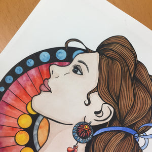 Nouveau Renewal- Phoenix Inspired Original Watercolor & Ink Illustration