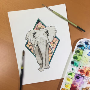 Elle Elephant - Animal Inspired Original Watercolor & Ink Illustration