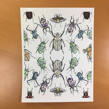 Load image into Gallery viewer, Beetle Repetition - Insect Inspired Original Tessellation Watercolor & Ink Illustration
