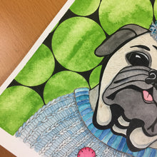 Load image into Gallery viewer, Party Animal - Pug Portrait Inspired Original Watercolor & Ink Illustration