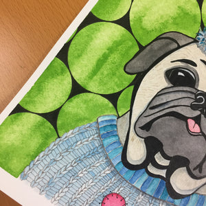 Party Animal - Pug Portrait Inspired Original Watercolor & Ink Illustration