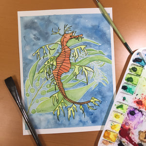 Sea Dragon - Sea Horse Inspired Original Watercolor & Ink Illustration