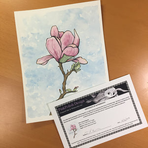 Patched Magnolia - Beautiful Broken Things Inspired Original Watercolor & Ink Illustration
