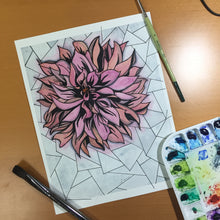 Load image into Gallery viewer, In Bloom - Chrysanthemum Inspired Original Watercolor & Ink Illustration