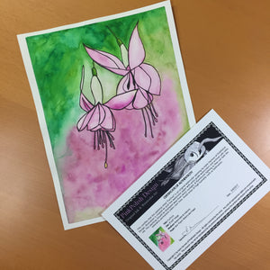 Fuchsia - Flower Inspired Original Watercolor & Ink Illustration