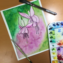 Load image into Gallery viewer, Fuchsia - Flower Inspired Original Watercolor & Ink Illustration