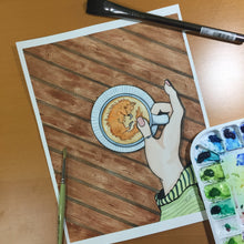 Load image into Gallery viewer, Foxy Coffee - Caffeine Inspired Original Watercolor & Ink Illustration