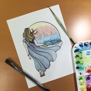 Shape Your World - World Builder Inspired Original Watercolor & Ink Illustration