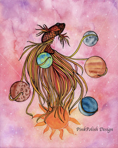 Pisces - Fish Astrology Inspired Watercolor Painting - Art Print