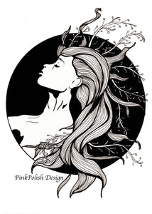 Sea Witch - Mermaid Inspired Ink Drawing - Art Print