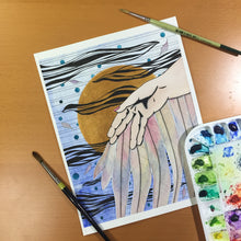 Load image into Gallery viewer, Icarus - Greek Mythology Inspired Original Watercolor & Ink Illustration