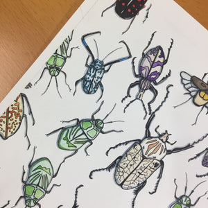 Beetle Repetition - Insect Inspired Original Tessellation Watercolor & Ink Illustration