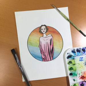 Towering - Strong Women Inspired Original Watercolor & Ink Illustration