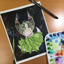 Load image into Gallery viewer, Moon Fairy - Fantasy Inspired Original Watercolor & Ink Illustration