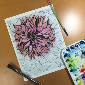 In Bloom - Chrysanthemum Inspired Original Watercolor & Ink Illustration