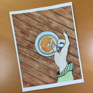 Foxy Coffee - Caffeine Inspired Original Watercolor & Ink Illustration