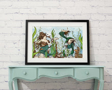 "Load image into Gallery viewer, Mermaid Cove - Fantasy Sea Life Inspired Watercolor Painting - 11""x17"" Art Print"