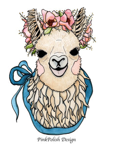 Mamma Llama - Cute Animal Inspired Watercolor Painting - Art Print