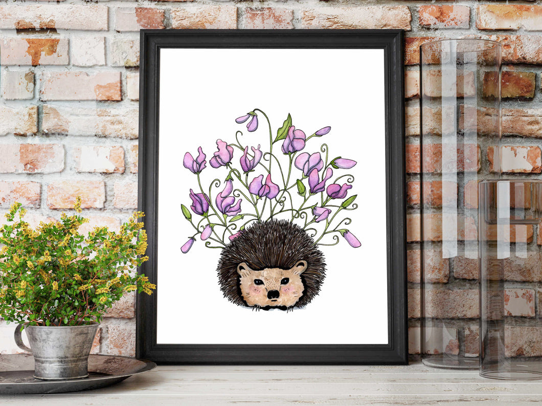 Sweet Pea - Hedgehog Inspired Watercolor Painting - Art Print