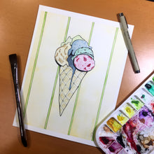 Load image into Gallery viewer, Ice Cream - Confection Inspired Original Watercolor & Ink Illustration