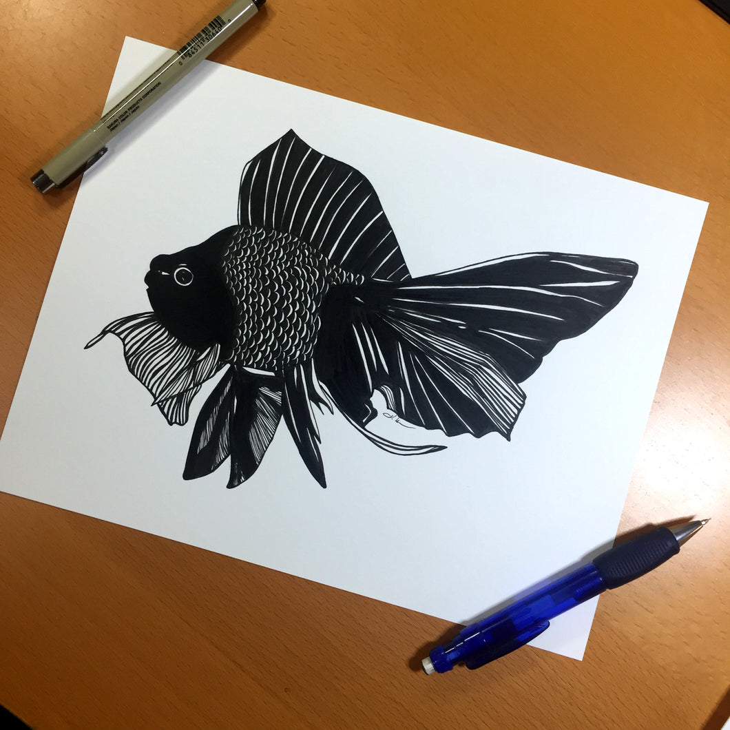 Beauty Fish - Goldfish Inspired Original Ink Illustration