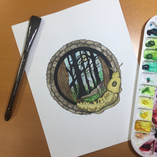 Load image into Gallery viewer, Feeling Sluggish in the PNW - Banana Slug Inspired Original Watercolor & Ink Illustration