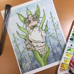 Shell Siren - Mermaid Inspired Original Watercolor & Ink Illustration