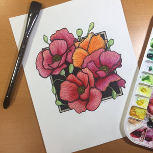 Poppies - Floral Inspired Original Watercolor & Ink Illustration