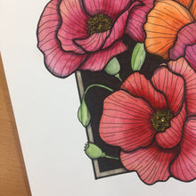 Load image into Gallery viewer, Poppies - Floral Inspired Original Watercolor & Ink Illustration