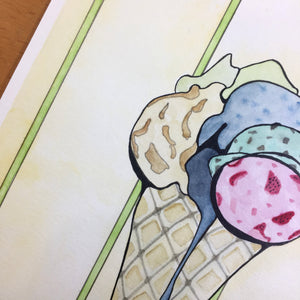 Ice Cream - Confection Inspired Original Watercolor & Ink Illustration