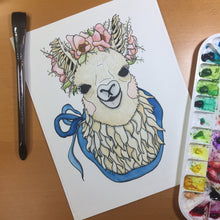 Load image into Gallery viewer, Mamma Llama - Cute Animal Inspired Original Watercolor & Ink Illustration