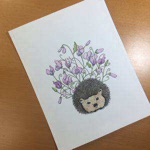 Sweet Pea - Cute Hedgehog Inspired Original Watercolor & Ink Illustration