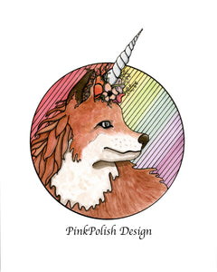 Foxicorn - Unicorn Horned Fox Inspired Watercolor Painting - Art Print