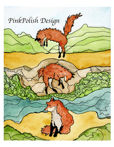 Frolic - Playful Fox Inspired Watercolor Painting - Art Print