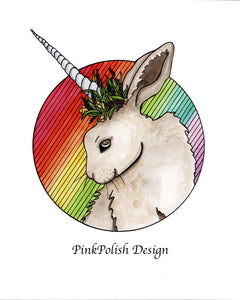 Bunnicorn - Unicorn Horned Rabbit Inspired Watercolor Painting - Art Print