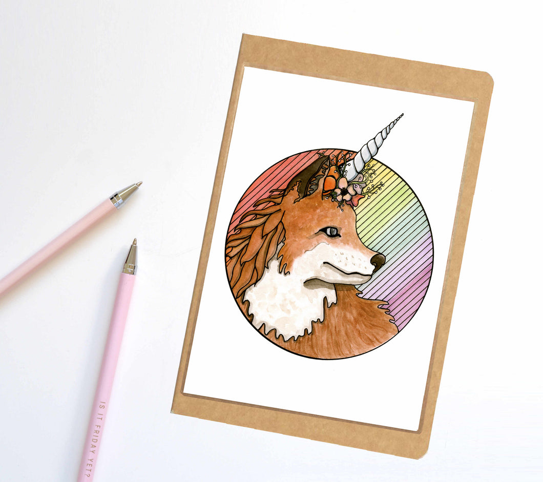 Foxicorn, Unicorn Horned Fox Inspired Notebook / Sketchbook / Journal