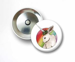 Bunnicorn - Unicorn Horned Bunny Inspired Watercolor Art Print - 2.25 Inch Refrigerator Magnet